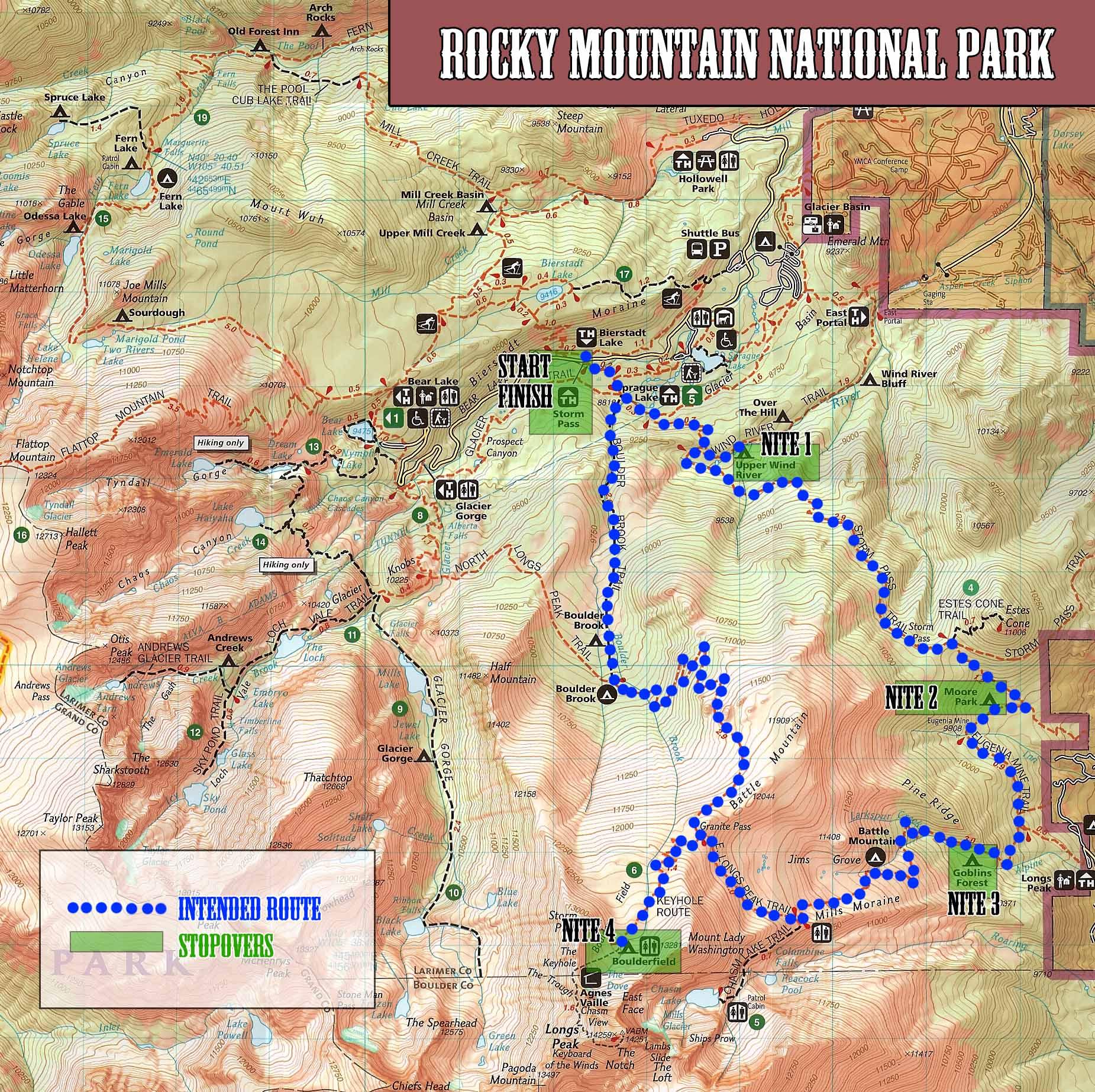 Rocky Mountain Trip Map