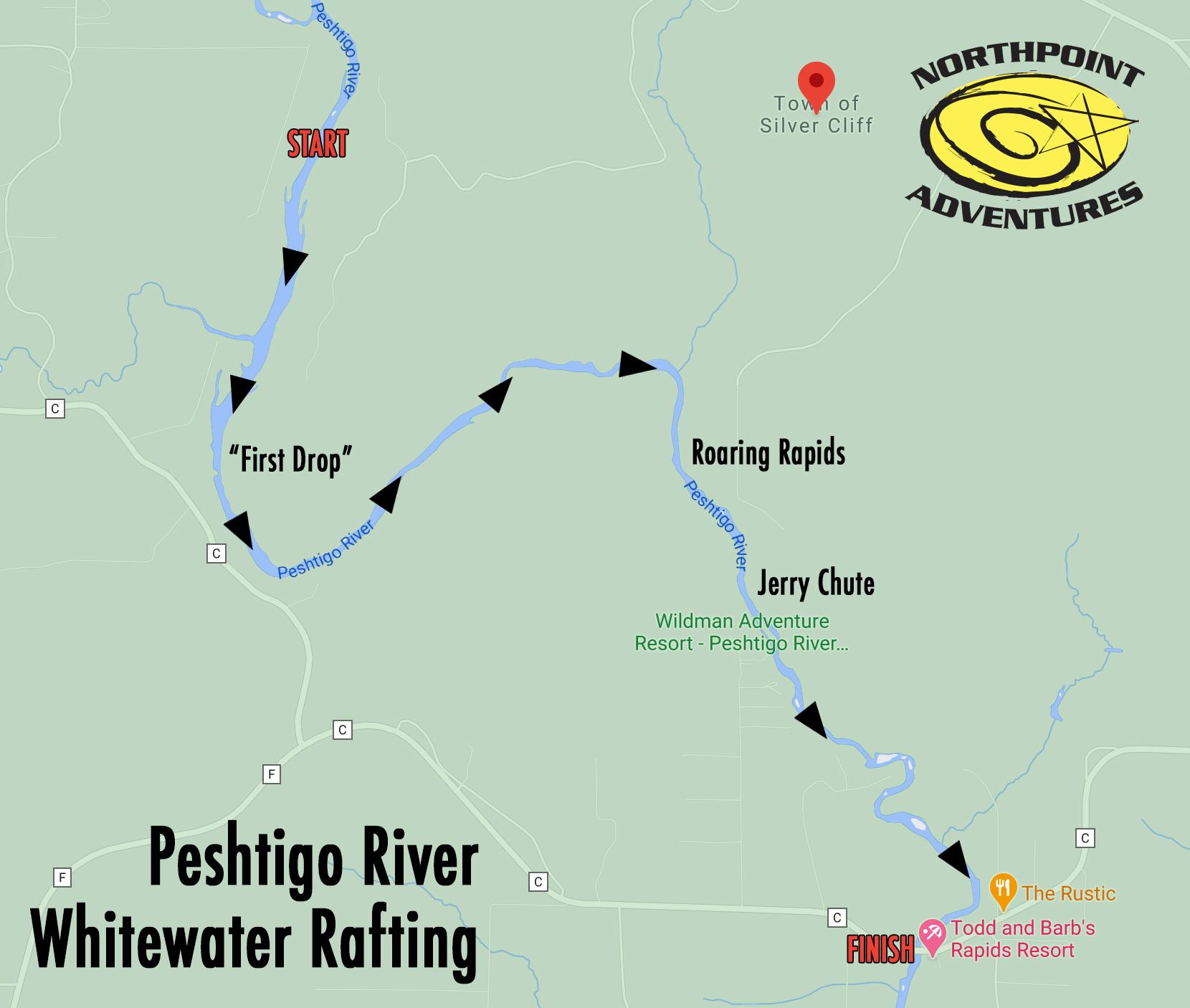 Peshtigo Rafting Trip Map