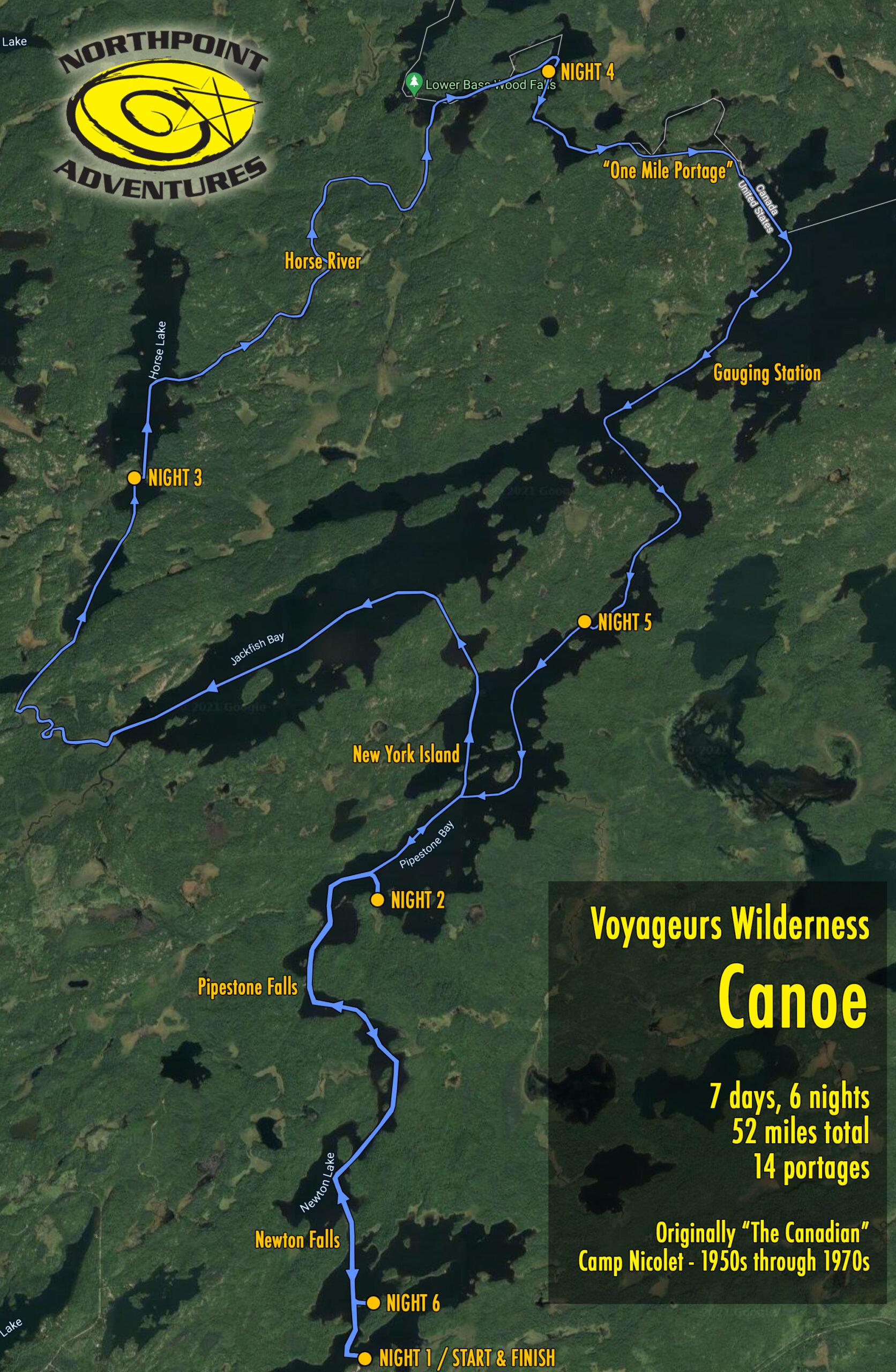 Voyageurs Trip Map
